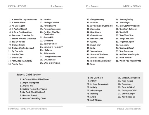 table of contents for inspirational poetry of comfort and hope book by Ron Tranmer